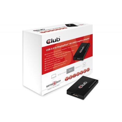 Club3d : SenseVision USB3.0 to Displayport 4K Graphics Adapter - Zwart