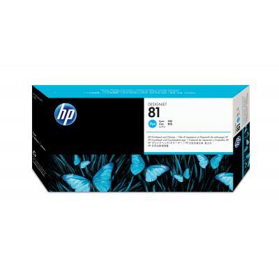 Hp printkop: 81 cyaan DesignJet printkop en printkopreiniger voor kleurstofinkt