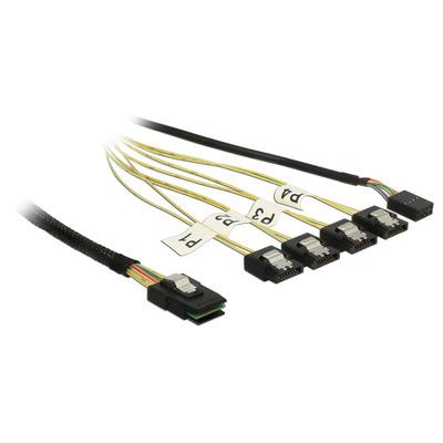 Delock kabel: 1m, Mini SAS SFF-8087/4xSATA 7p - Zwart, Zilver, Geel