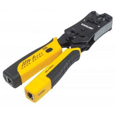 Intellinet tang: 2-in-1 Crimper and Cable Tester — Cuts, Strips, Terminates and Tests - Zwart, Geel