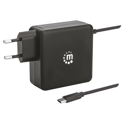 Manhattan Wall Charger (Euro 2pin), 1x USB-C Port built in (with 1.8m cable) up to 60W, 1x USB-A Port (up to .....