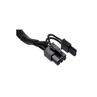 Corsair : Type 4 Sleeved black PCI-E cable with pigtail connector and capacitors for Type 4 PSU - Zwart