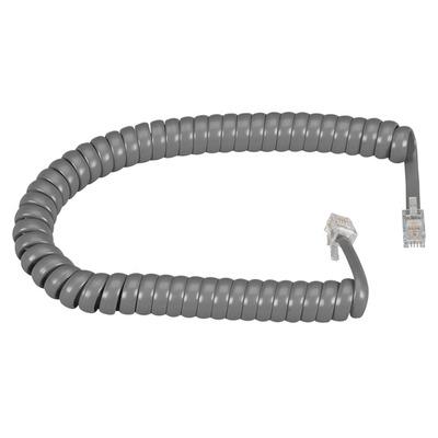 Black Box RJ-22 Modular Coiled Handset Cord, Dark Gray, 6ft. (1.8m) Telefoon kabel - Grijs