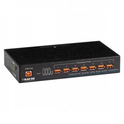Black Box Industrial-Grade USB, 7-Port w/ Isolation Hub - Zwart