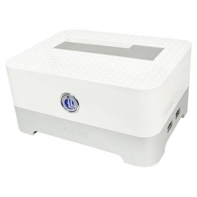 "Logilink HDD/SSD docking station: Quickport USB 2.0 for 2.5"" & 3.5"" SATA incl. HUB & Card Reader, white - Wit"