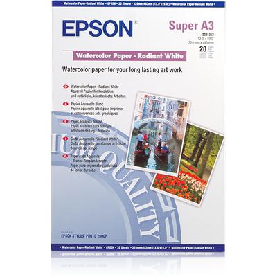 Epson WaterColor Paper - Radiant White, DIN A3+, 190g/m², 20 Vel Papier - Wit