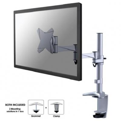 "Newstar monitorarm: Full Motion Desk Mount (clamp & grommet) for 10-30"" Monitor Screen, Height Adjustable - Silver - ....."