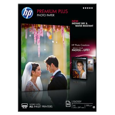 HP Premium Plus glanzend, 50 vel, A4/210 x 297 mm Fotopapier - Wit