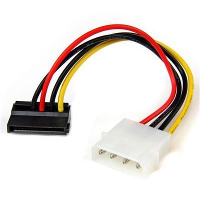 Startech.com electriciteitssnoer: 4-pins Molex-naar-linkshoekige SATA-voedingskabeladapter 15 cm - Multi kleuren