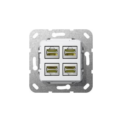 GIRA Basiselement Modular Jack RJ45 Cat.6 10 GB Ethernet viervoudig Snijklemtechniek Wandcontactdoos - Wit