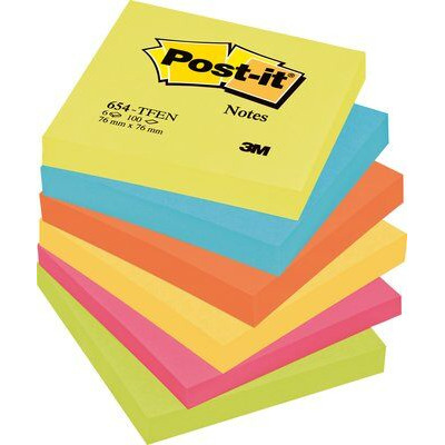 Post-it zelfklevend notitiepapier: Notitieblok Energetic 76x76mm ass/p6x100