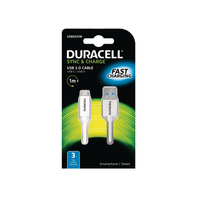 Duracell 1M USB Type-C to USB 3.0 Cable Oplader - Wit