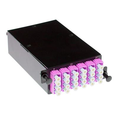 ACT High Density fanout cassette 24 vezels MTP-MPO Low Loss OM4 Patch panel - Zwart, Den, Wit