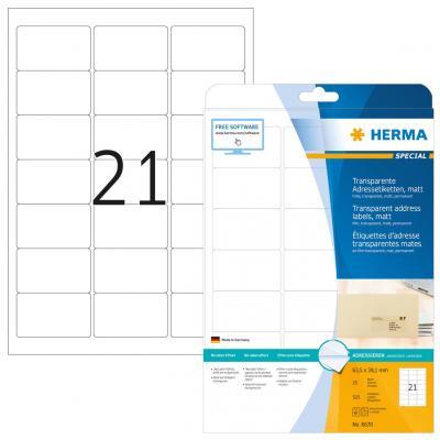 Herma adreslabel: Address labels transparent matt A4 63.5x38.1 mm round corners film 525 pcs. - Transparant