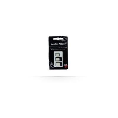 Microspareparts mobile SIM/flash memory card adapter: 3in1 Sim Adapter set Black - Zwart