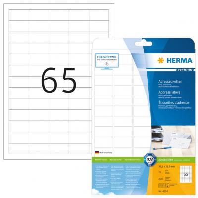 Herma adreslabel: Address labels Premium, A4, 38.1x21.2 mm, 1625 pcs. - Wit