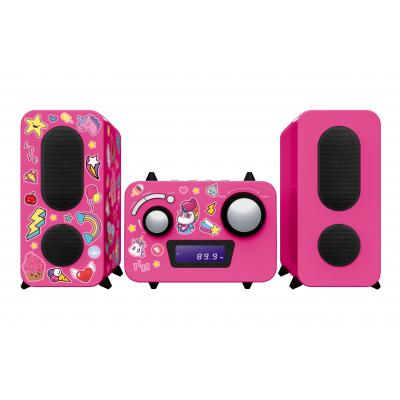 Bigben interactive home stereo set: PLL, FM, LCD, Aux in 3.5mm, 230V - Roze