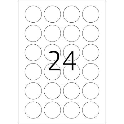 Herma etiket: Removable labels A4 Ø 40 mm round white Movables/removable paper matt 2400 pcs. - Wit