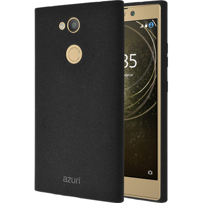 Azuri Flexible cover with sand texture - zwart - for Sony Xperia L2 Mobile phone case