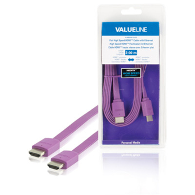 Valueline Platte High Speed met ethernet HDMI-connector - HDMI-connector 2.00 m paars HDMI kabel