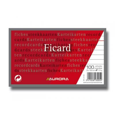 Aurora indexkaart: Systeemkaart 75x125mm lijn 175g/pak 100