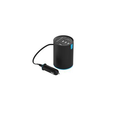 Realtron batterij: Ultron, RealPower Car Charger Tube 5-Poort USB autolader voor de drinkbeker houder met SmartID