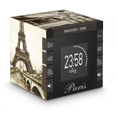 Bigben interactive radio: Wekkerradio met tijdprojectie met afbeelding van Parijs - Zwart, Bruin