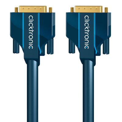 ClickTronic 7.5m DVI-D Connection DVI kabel  - Blauw