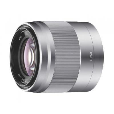 Sony camera lens: E50mm F1.8 portretlens. Alleen geschikt voor camera's met E-bevestiging - Zilver
