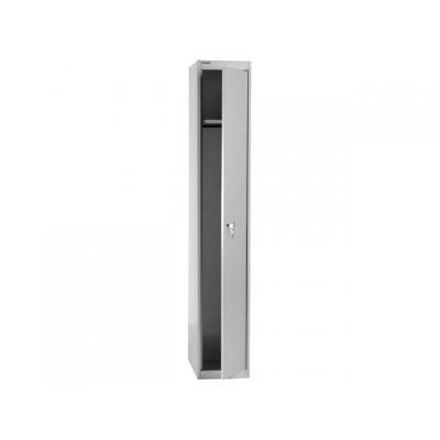 Bisley archiefkast: Kledingkast 1 deur 1 plank+haak zilvergs