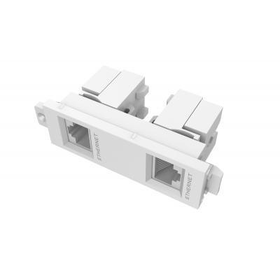 Vision wandcontactdoos: Twin RJ45 module, Cat5e/Cat6 - Wit