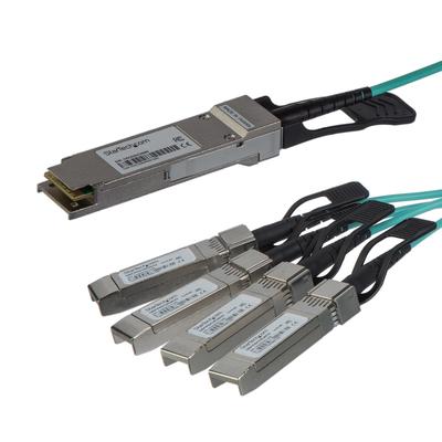StarTech.com 15m QSFP+ optische Breakout kabel actief Cisco QSFP-4X10G-AOC10M compatibel glasvezel 40 Gbps .....