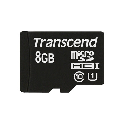 Transcend 8GB microSDHC Class 10 UHS-I Flashgeheugen - Zwart