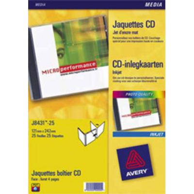 Avery CD Inlegkaarten, wit, 151,0 x 118,0 mm Etiket