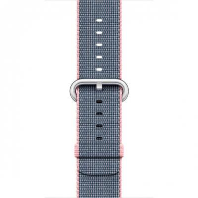 Apple : F/ Watch 42mm, Lichtroze/Middernachtblauw, geweven nylon - Blauw, Roze