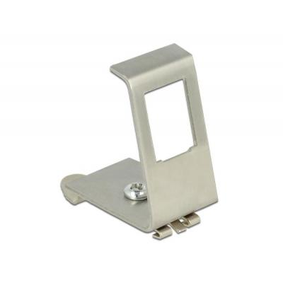 DeLOCK Keystone Metal Mounting 1 Port for DIN rail Patch panel accessoire - Metallic