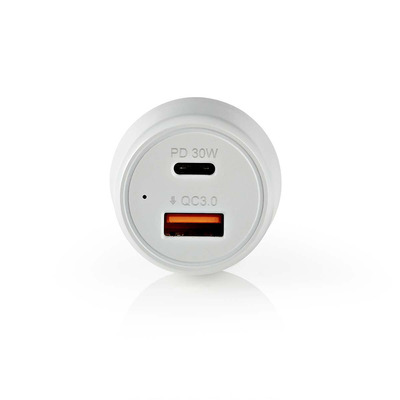 Nedis Car charger, 3 A, USB, USB-C, White/Grey Oplader - Grijs,Wit