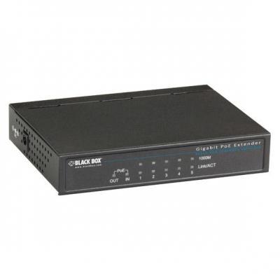 Black Box Gigabit PoE Repeater, (1) PD In, (1) PoE Out, and (3) RJ-45 Ports, 200 g, Black Netwerk verlenger - .....