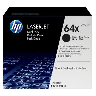 HP toner: 64A 2-pack zwart o.a voor LaserJet CC364XD
