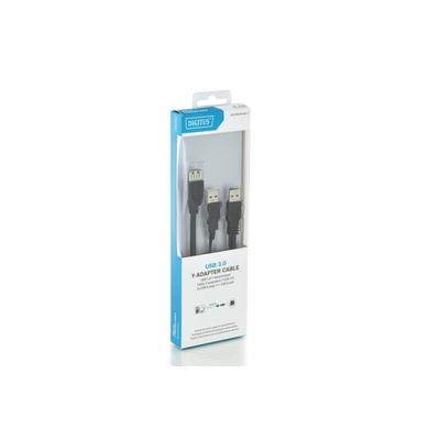 Digitus 0.3m, USB3.0-A/2xUSB3.0-A USB kabel - Zwart