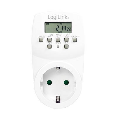 LogiLink LCD, 230V, 50Hz, 1.8kW, 75x57x105mm, 105g, White Elektrische timer - Wit