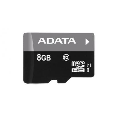 Adata flashgeheugen: Premier microSDHC UHS-I U1 Class10 8GB w/ Micro Reader V3 - Zwart, Grijs