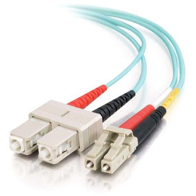 C2G 3m LC-SC 10Gb 50/125 OM3 Duplex Multimode PVC Fibre Optic Cable (LSZH) - Aqua Fiber optic kabel