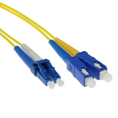 ACT 0,5 meter LSZH Singlemode 9/125 OS2 glasvezel patchkabel duplex met LC en SC connectoren Fiber optic kabel