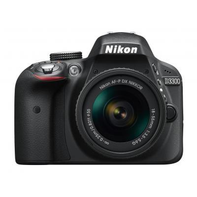 Nikon digitale camera: D3300 + AF-P 18-55mm VR - Zwart