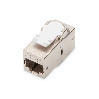 Digitus CAT 6A modular coupler, shielded RJ45 to RJ45, snap-in panel mount Kabel adapter - Nikkel