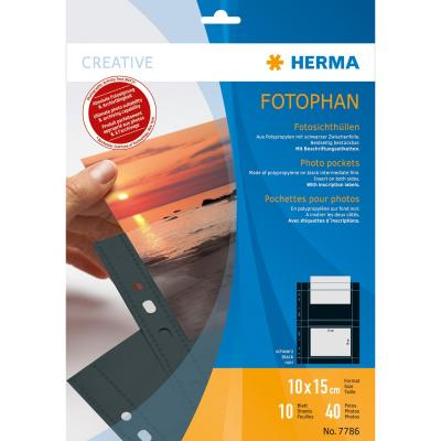 Herma showtas: Fotophan transparent photo pockets 10x15 cm landscape black 10 pcs. - Zwart, Transparant