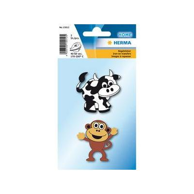 Herma naaiaccessoire: 2pcs, Iron on sticker cow + monkey - Multi kleuren