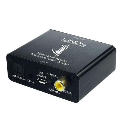 Lindy audio converter: TosLink, Coaxial, 3.5mm, 2xPhono, 600Ohm, 32-192KHz - Zwart