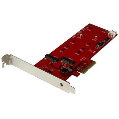 Startech.com interfaceadapter: 2x M.2 SSD controller kaart PCI Express kaart - Rood